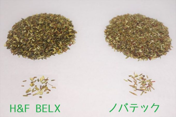 ノバテックとH&F BELXの茶葉のアップ画像