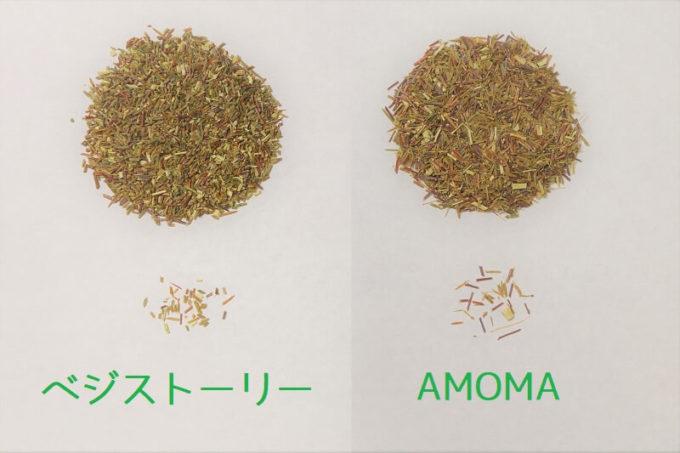 ベジストーリーのグリーンルイボスティーとAMOMAのグリーンルイボスティーの茶葉を比較